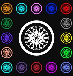 Casino roulette wheel icon sign Lots of colorful vector