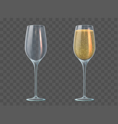 champagne glass fill and empty transparent vector image