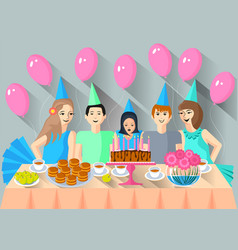 children came to celebrate the birthday of their vector image