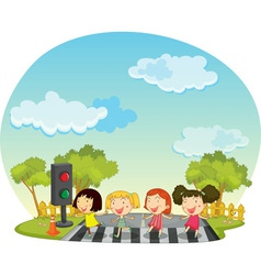 Children crossing the street vector image