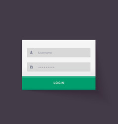 clean flat white login form ui template design vector image