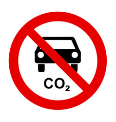 Co2 car and prohibition sign vector