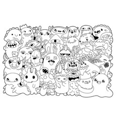coloring bookdoodle monsters vector image