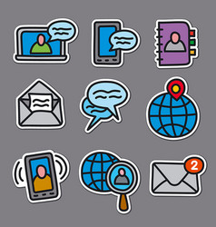 communication stickers for web vector image