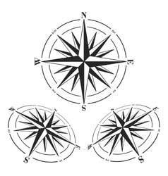 Compass roses set isolated on white vector image