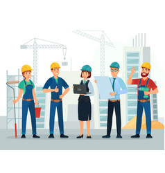 construction team engineering and constructions vector image