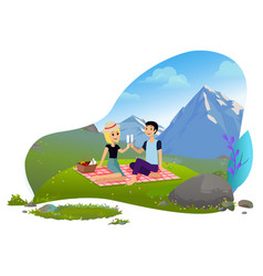 couple on vacation man woman on nature mountains vector image