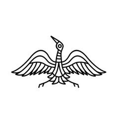 crane bird monoline logo icon vector image