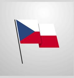 Czech republic waving flag design background vector