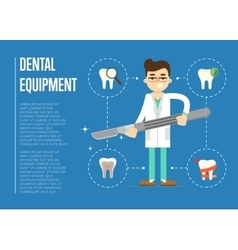 Dental equipment banner with male dentist vector