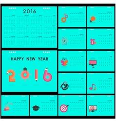 Desk Calendar 2016 Design Template vector image