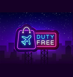 Duty free neon sign duty free design vector
