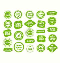 eco logo set for natural product vector image