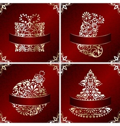Elegant christmas cards vector
