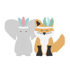 elephant and fox with feathers hats bohemian style vector image