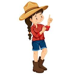 Farm girl wearing red shirt vector image