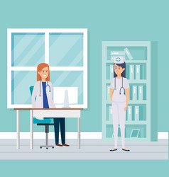 female doctor and nurse in consulting room vector image