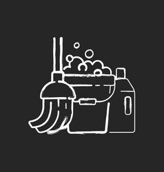 Floor mopping chalk white icon on black background vector