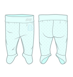 Footed tights for a baby boy vector