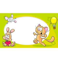 Funny frame with cute animals - cat bunny and vector