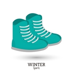 Green boots winter wear shoes vector