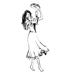 Gypsy dancer with tambourine hand drawn woman vector