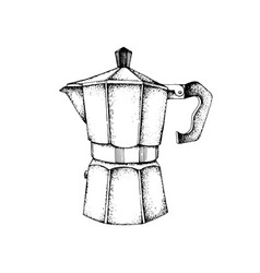 Hand drawn italian coffee maker or moka pot vector