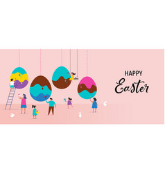 Happy easter poster design vector