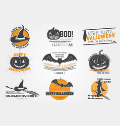 happy halloween set invitation to a party of vector image