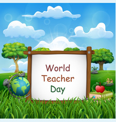 happy teachers day sign with set stationary ele vector image