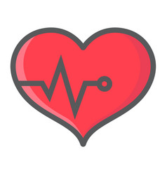 heart pulse filled outline icon fitness and sport vector image