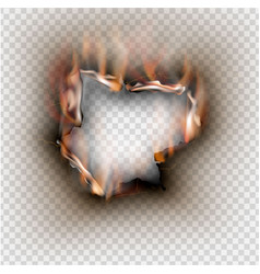 hole torn in ripped paper with burnt and flame on vector image