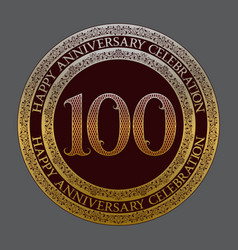 hundredth happy anniversary celebration symbol vector image