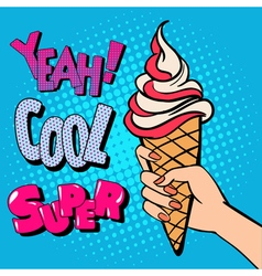 Ice Cream Cone with Comic Style Typography Pop Art vector