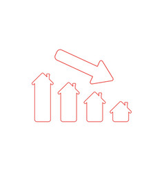 Icon concept house sales or value bar chart vector