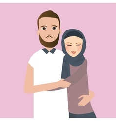 Islam couple married man woman wear veil scarf vector