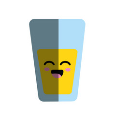 Kawaii cute happy juice glass vector