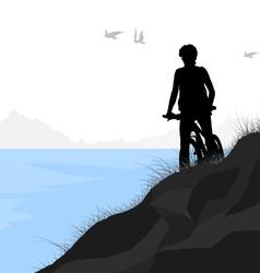 Lake and cycling vector image