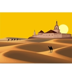Landscape - caravan in the desert goes to the old vector image