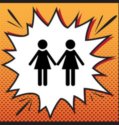 Lesbian family sign comics style icon on vector