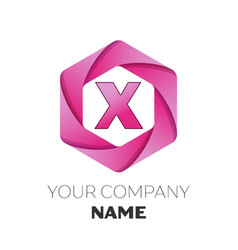 letter x logo symbol on colorful hexagonal vector image