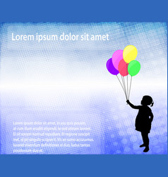little girl holding balloons over abstract vector image