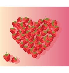 Love heart summer cherries isolated vector image