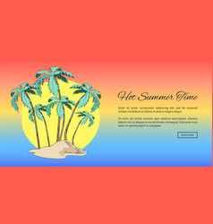 lovely summer poster with tall palms and text vector image