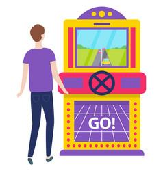 man playing gambling game machine car race vector image