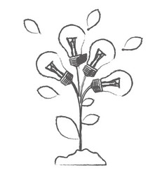 Monochrome sketch with plant stem with leaves and vector