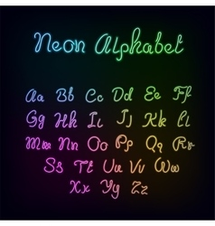 Neon rainbow color glow alphabet vector