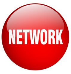 Network red round gel isolated push button vector