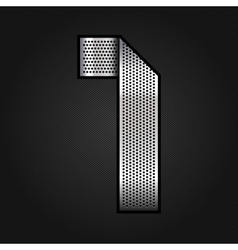 Number metal chrome ribbon - 1 - one vector image
