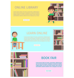 Online library and learn with internet book fair vector